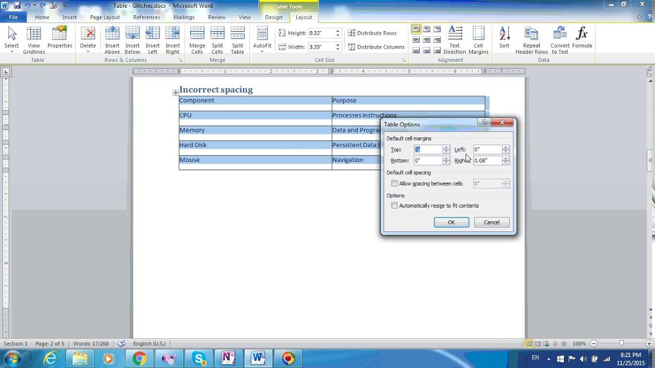 Word tables part 4 how to automatically set space between for Table design on word