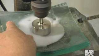 Drilling glass sinks and countersinks for drains with Electroplated and Sintered Core drills