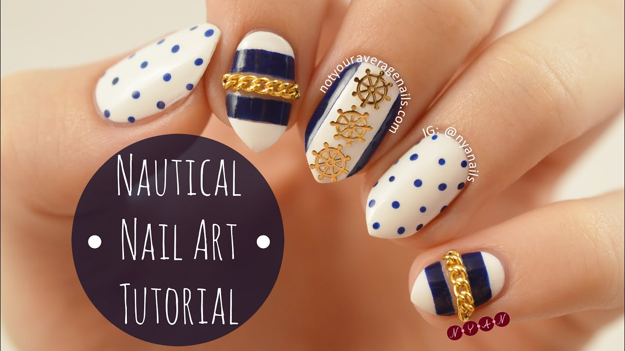 Nautical Nail Art Tutorial - YouTube