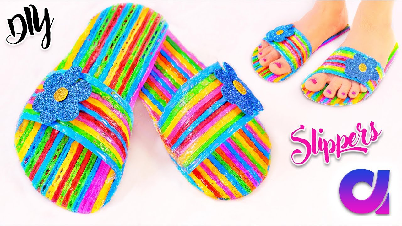 How to make drinking straw slippers at home best out of for Something out of waste