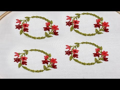 Hand embroidery lazy daisy stitch all over design tutorial thumbnail