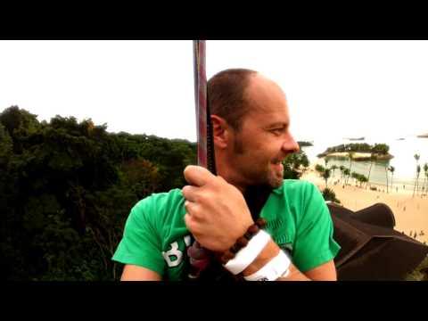 Baba Videos, Tyrolienne , MegaZip wire , Singapore Sentosa Gopro