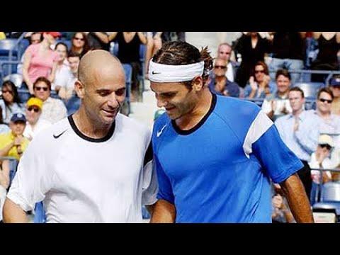 Roger Federer Vs Andre Agassi 2004 US Open QF Highlights