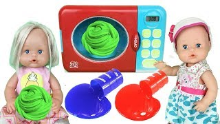 Aprende colores en ingles para niños con slime y bebes nenuco Lola y baby born. Learn colors