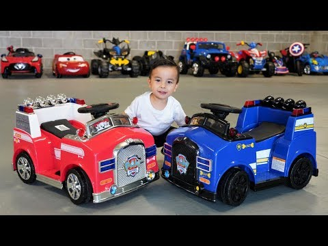 Chase Police Car VS Marshall Fire Engine Paw Patrol Kids Ride On Car  Fun With Ckn Toys