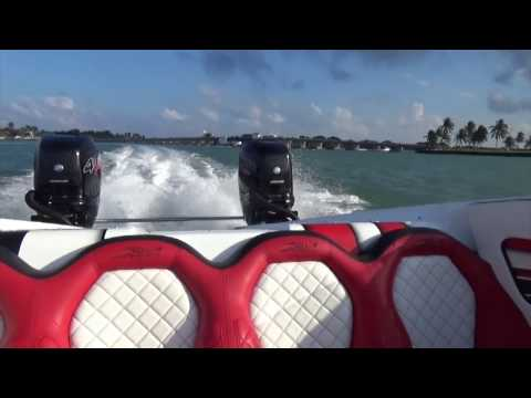 Test drive of the MTI 340X Catamaran with 2x400 hp Merc