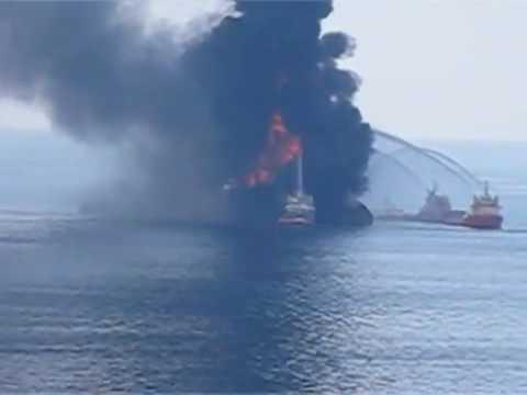 Deep Water  Horizon oil rig Fire  offshore