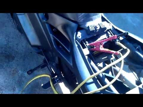How to jumpstart a motorcycle with a car - YouTube
