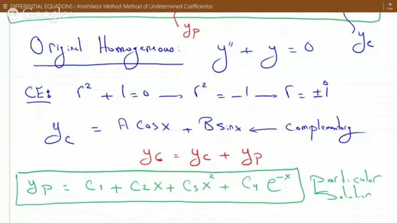 Annihilator Method Method Of Undetermined Coefficients Example Maxresdefault Watch?vFCtoVZoRA