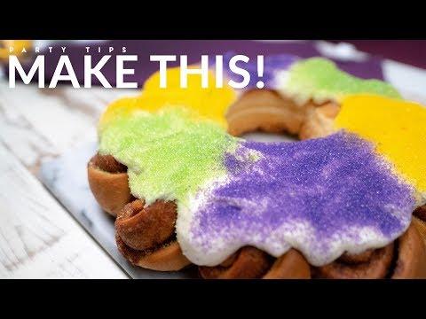 King Cake Cinnamon Roll Wreath For Mardi Gras 2019  🎉 | Evite Recipes