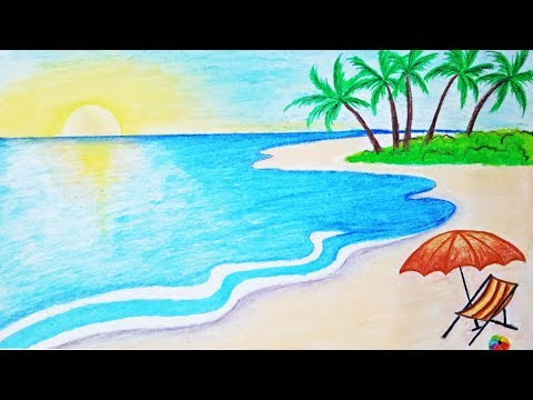How to draw a scenery of sea beach Step by step (easy draw)