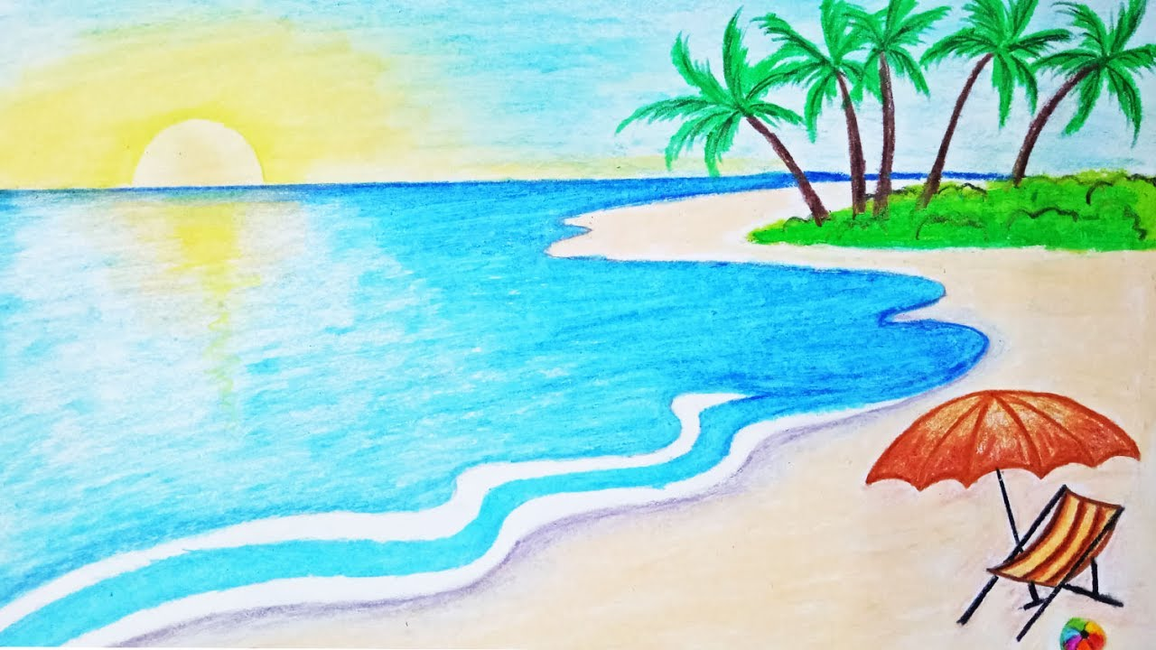 How to draw a scenery of sea beach Step by step (easy draw ...