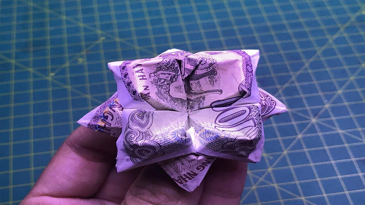 hướng dẫn cách làm hoa 4 cánh bằng tiền giấy money origami flower tutorials