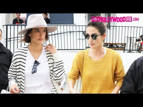 Alessandra Ambrosio & Lily Aldridge Have Lunch With Their Children At Au Fudge Restaurant