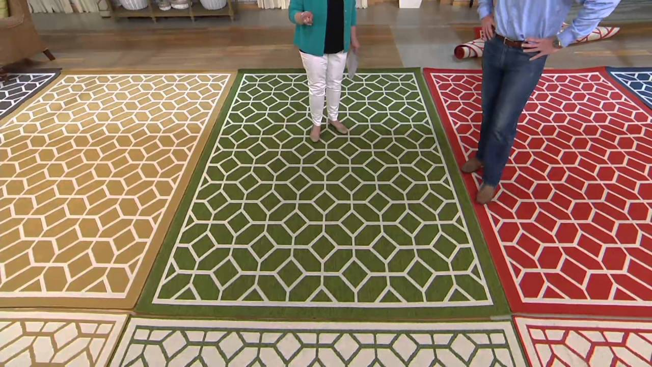 veranda living indoor outdoor geometric reversible rug on qvc