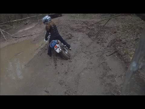 Girl enduro riding.