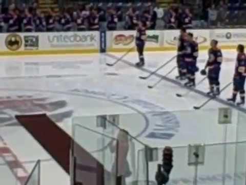 Little girl sings American Anthem (Hockey game, MassMutual Center)