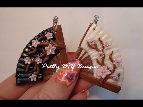 Polymer Clay Fan Earrings with Cherry Blossoms//Cross Gene Ying Yang Inspired