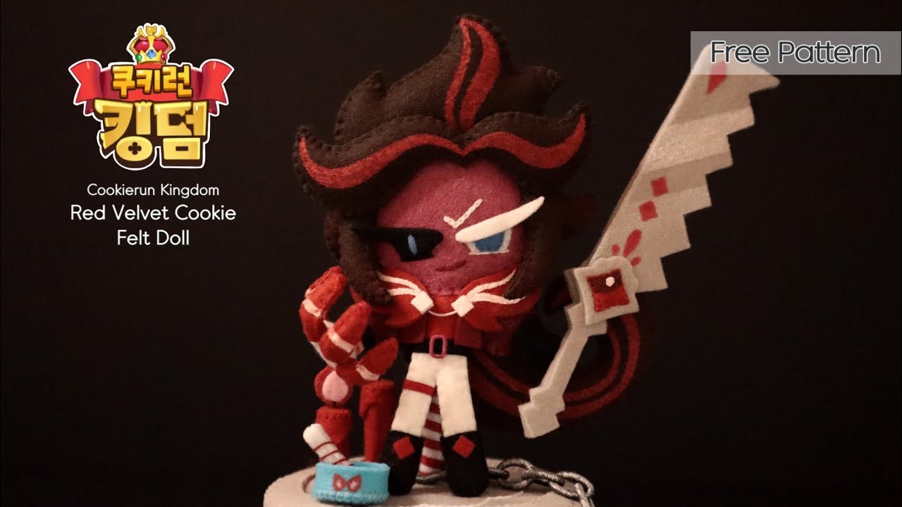 [무료 도안]쿠키런 킹덤 벨벳케이크맛 쿠키 펠트인형 만들기/ Red Velvet Cookie feltdoll/フェルト