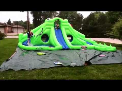 blast zone ultra croc huge inflatable water park review youtube
