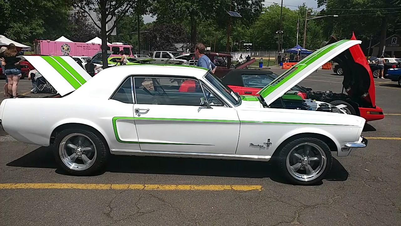 1968 White Ford Mustang With Fluorescent Lime Green Racing Stripes