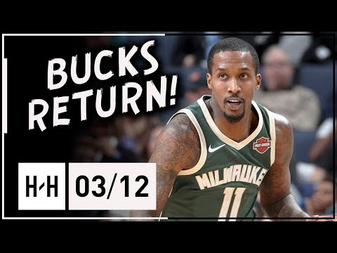 Brandon Jennings BUCKS RETURN Full Highlights vs Grizzlies (2018.03.12) - 16 Pts, 8 Reb, 12 Assists!