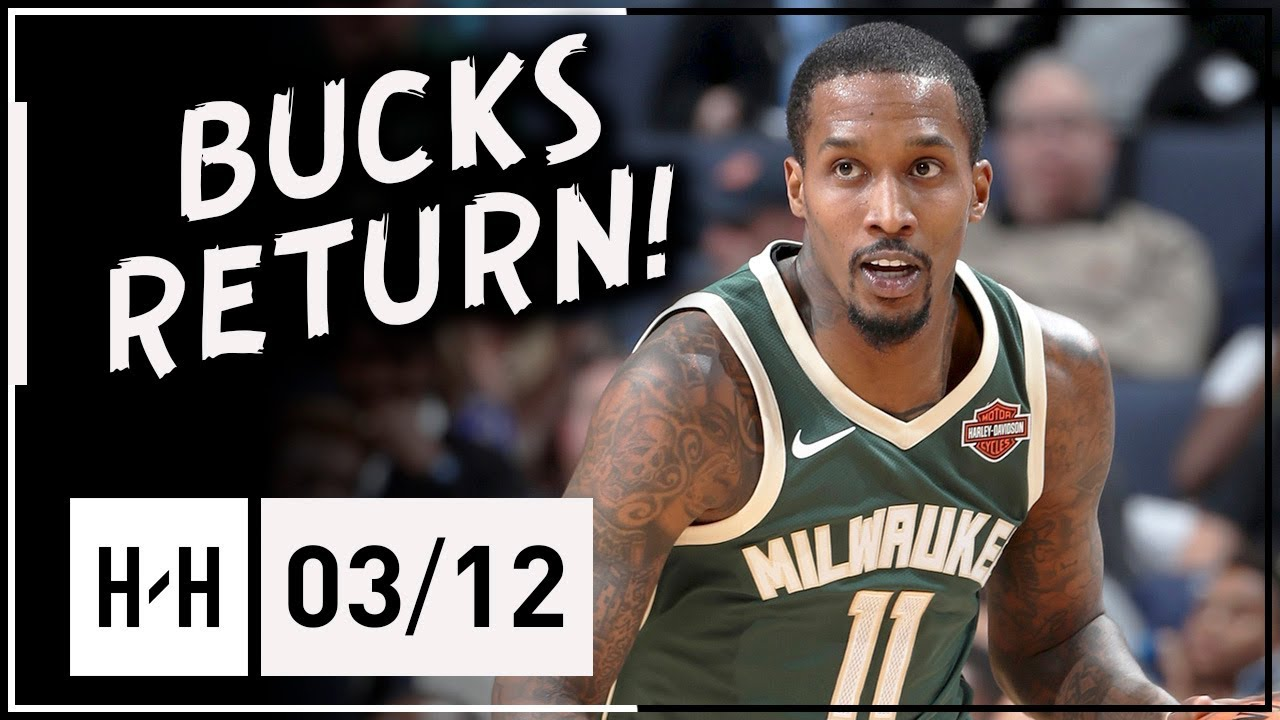Brandon Jennings BUCKS RETURN Full Highlights vs Grizzlies (2018.03.12) - 16 Pts, 8 Reb, 12 Assists! #1