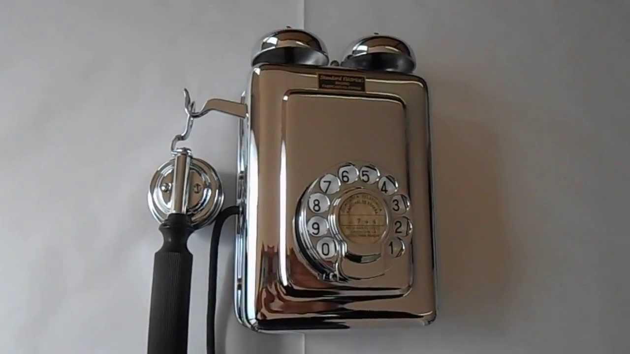 TELEFONO ANTIGUO DE PARED ESPAÑOL CROMADO
