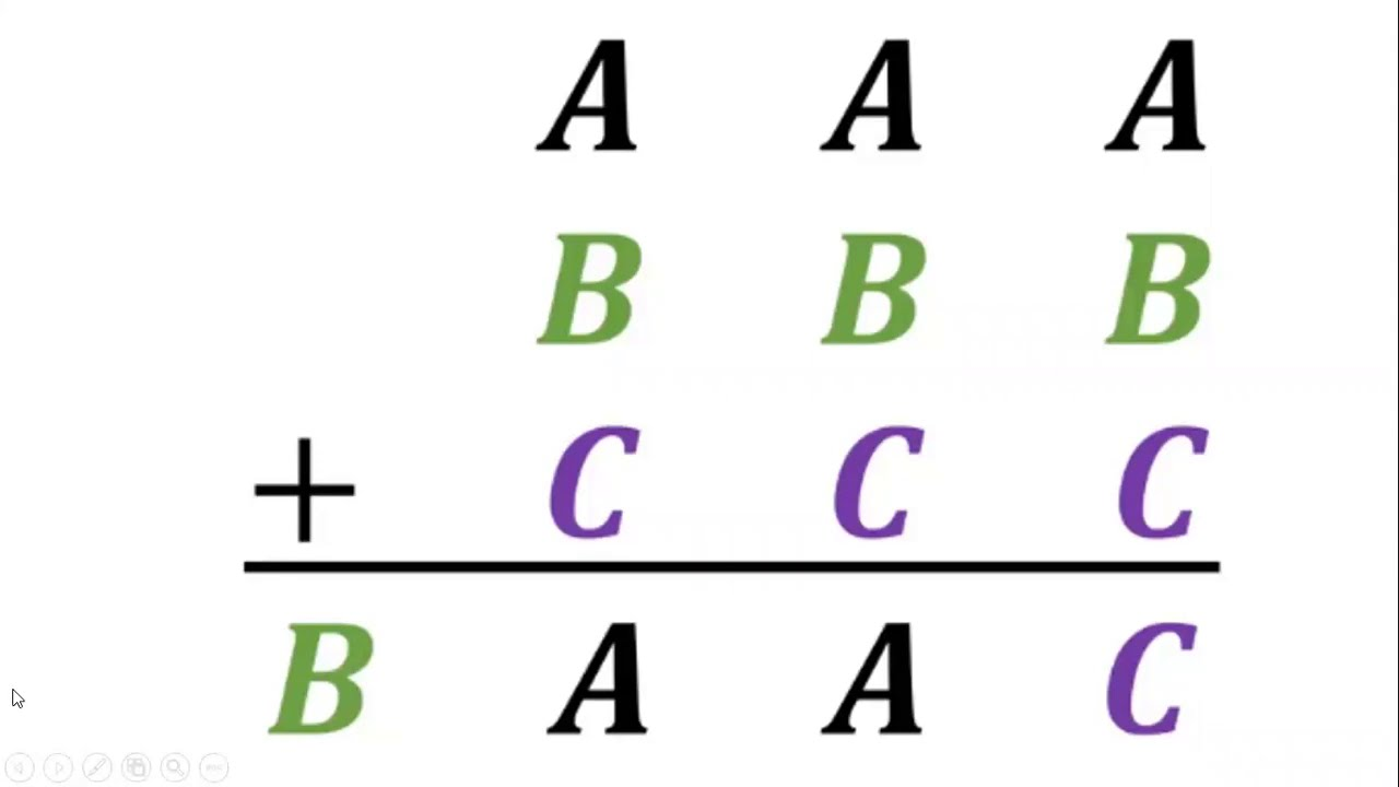 If AAA + BBB + CCC = BAAC, What Are A, B, C = ?, Math puzzle - YouTube