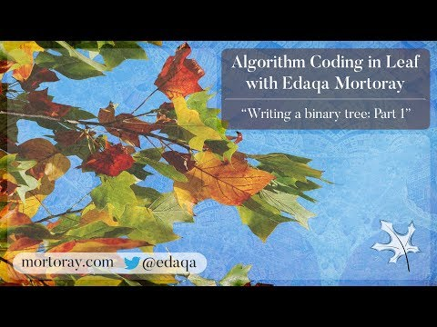 Algorithm Coding: Writing a binary tree: Part 1