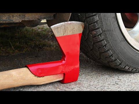 EXPERIMENT Car Vs AXE Crushing Crunchy & Soft Things By Car!