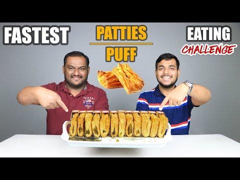 VEG ALOO BUTTER PATTIES \ PUFF EATING CHALLENGE | Aloo Patties Eating Competition | Food Challenge