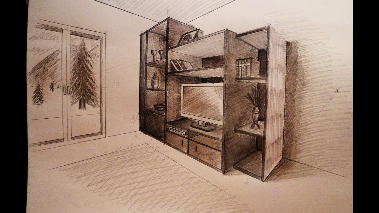 How to draw - Two point perspective - living room ...