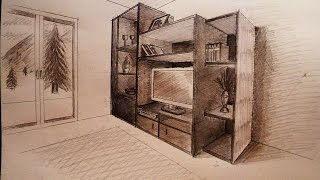 How to draw - Two point perspective - living room furniture - tutorial