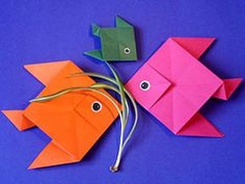 how to make a fish using origami paper origami youtube. Black Bedroom Furniture Sets. Home Design Ideas