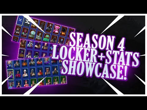 SHOWING MY LOCKER & STATS (SEASON 4) | ALL MY SKINS, PICKAXES, GLIDERS, EMOTES & MORE! | Fortnite!