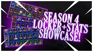 MOSTRANDO MEU LOCKER & STATS (SEASON 4) | TODAS AS MINHAS PELES, PICKAXES, PLANADORES, EMOTES & MORE! | Fortnite!