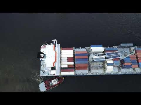 Aerial Drone Video of Cargo Ship Seatrade Orange Delaware River Philadelphia