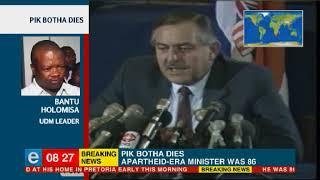 UDM leader Bantu Holomisa reacts to Pik Botha's death