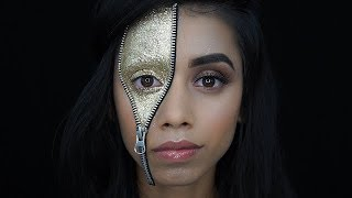 Don't worry no blood… this time ;) Day #19 : Glitter Zipper Face Pr...