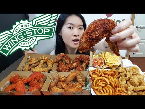 WINGSTOP FEAST! Atomic Spicy Chicken, Texas Buffalo Wings, Onion Rings & Fries | Mukbang Eating Show