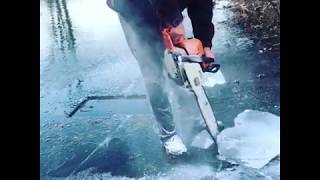 Husband uses chainsaw to carve out 5-inch thick frozen heart for wife
