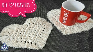 DIY Macrame Heart Coasters - Table Decoration Ideas for Valentines Day