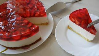 Творожный Торт с Клубникой и Желе без выпечки Торт с желе ягодами и творогом