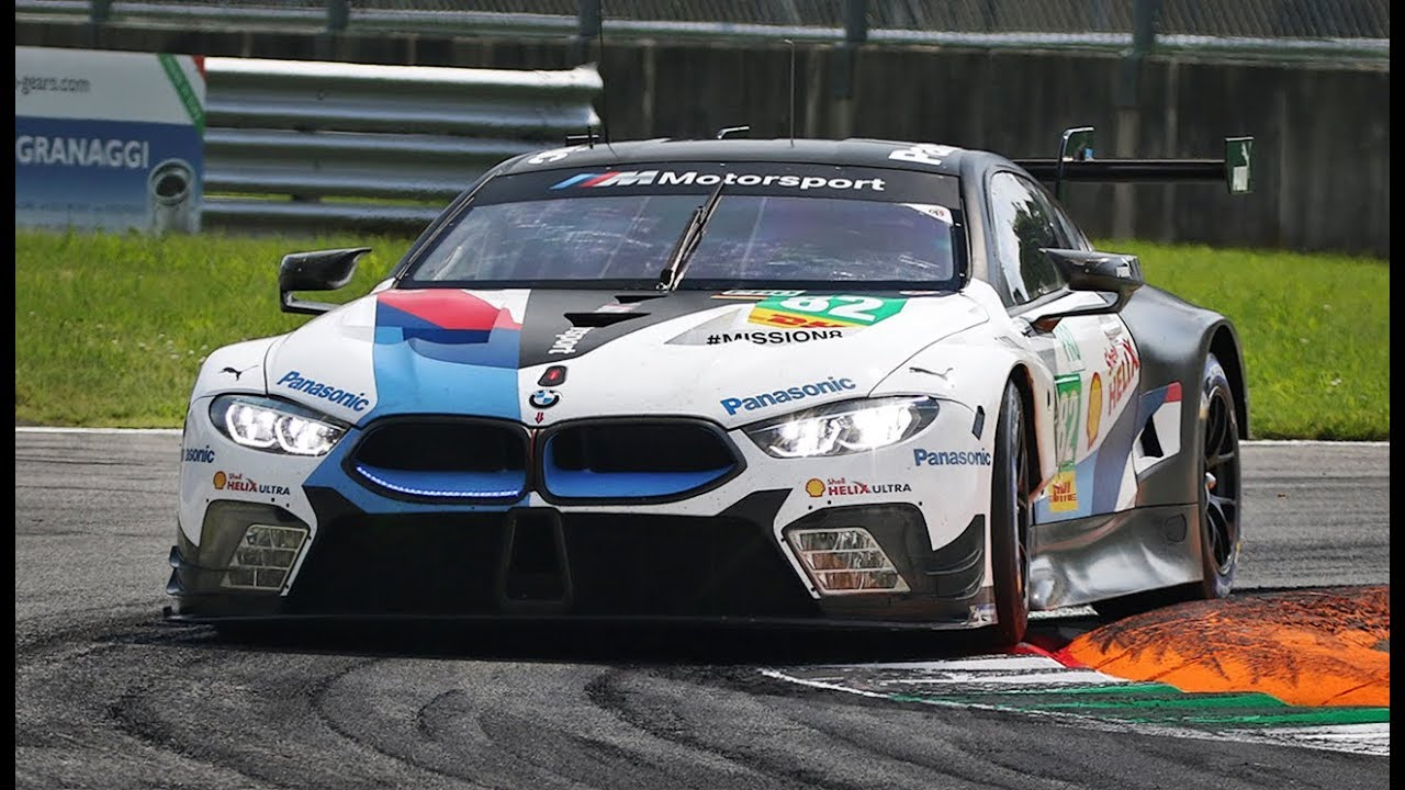 bmw m8 gte in action at monza circuit ahead of the 24 hours of le