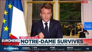 Notre Dame fire: French President Emmanuel Macron speaks