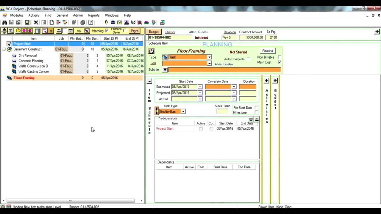 How to create a new project schedule? - VGK project management software  tutorial - YouTube