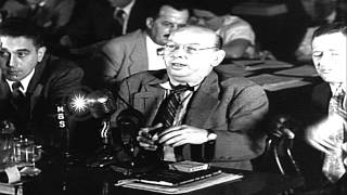 Witness, Hanns Eisler, testifies before  the House Un-American Activities Committ...HD Stock Footage