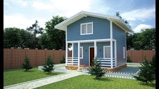 Каркасный дом 6х7,5 м по проекту «Карлино» 3D проект.