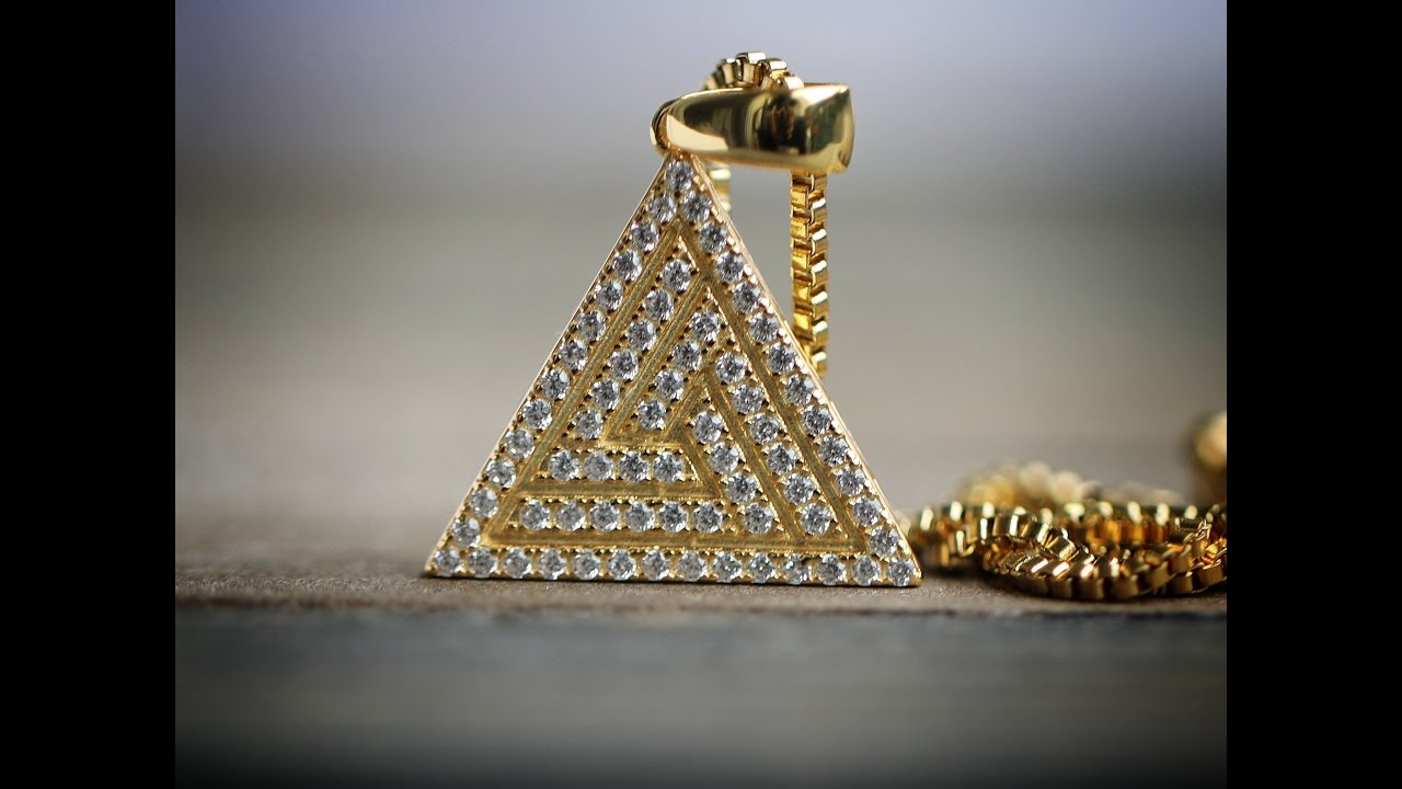 iced out gold pyramid necklace wholesale hip hop jewelry